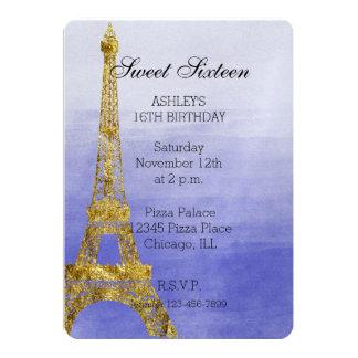 Purple Ombre Watercolor Eiffel Tower Sweet Sixteen Card