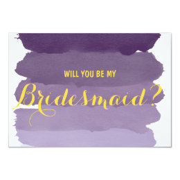 Purple ombre watercolor Will you be my Bridesmaid Card