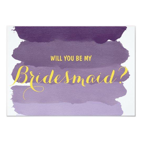 purple ombre watercolor will you be my bridesmaid card zazzle. Black Bedroom Furniture Sets. Home Design Ideas