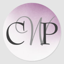 Purple Ombre Wedding Monogram stickers