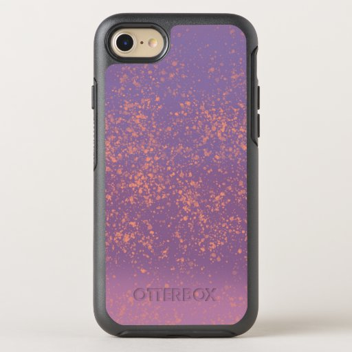 Purple Ombre with Peach Paint Splatter Accents OtterBox Symmetry iPhone SE/8/7 Case