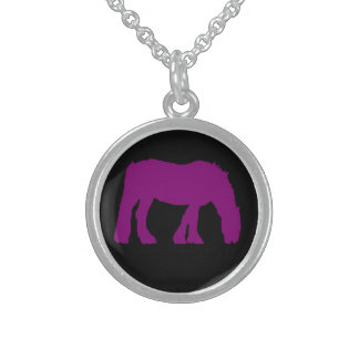 Purple On Black Horse silhouette Necklace