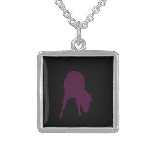 Purple On Black Horse silhouette necklace