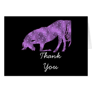 Purple On Black Horse silhouette Thank You Card