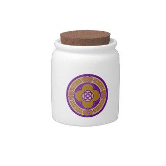 Purple on gold celtic art decorative design candy jar