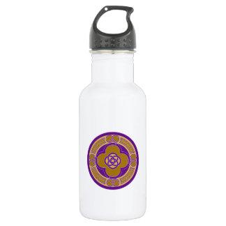 Purple on gold celtic art decorative design water bottle
