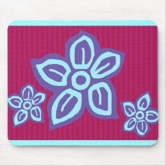 purple  on pink flowers on mouse pad