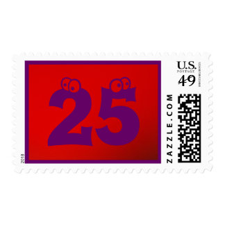 Purple On Red 25 Stamp