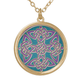 Purple on Turquoise Celtic Knot Necklace