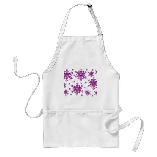 Purple on White Snowflake Design Adult Apron