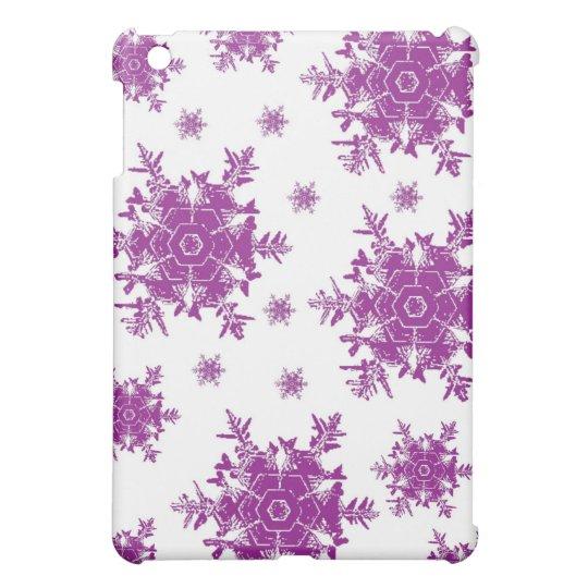 Purple on White Snowflake Design Cover For The iPad Mini