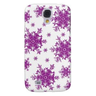 Purple on White Snowflake Design Galaxy S4 Cover