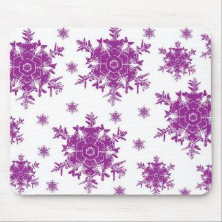 Purple on White Snowflake Design Mouse Pad