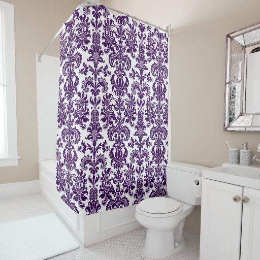 purple on white vintage floral damask pattern shower curtain zazzle. Black Bedroom Furniture Sets. Home Design Ideas