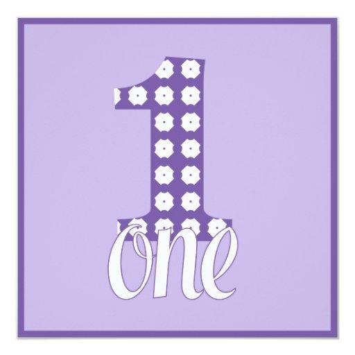 """Purple One Party Invitation 5.25"""" Square Invitation Card"""