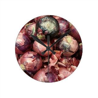 Purple Onion Round Clock