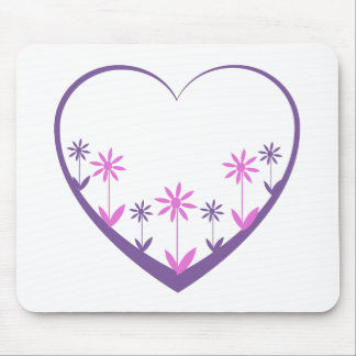 Purple open heart, flowers in purple, & pink mouse pad