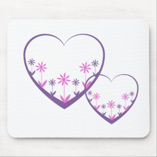 Purple open hearts, flowers in purple, pink mouse pad