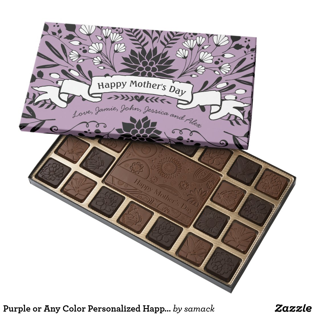 Purple or Any Color Personalized Happy Mothers Day 45 Piece Box Of Chocolates