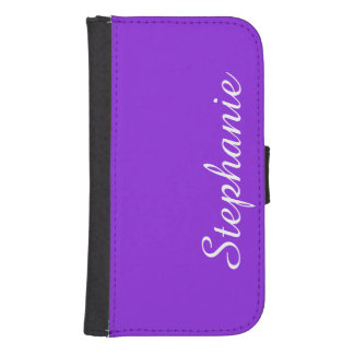 Purple or CHOOSE YOUR COLOR, White Text Customized Galaxy S4 Wallet Case