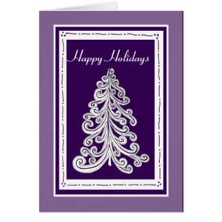 Purple or Custom Color Doodle Style Christmas Tree Card