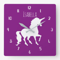 Purple or Custom Color Unicorn Personalized Kids Square Wall Clock