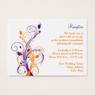 Purple Orang White Floral Reception Enclosure Card