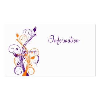 Purple Orang White Floral Wedding Enclosure Card