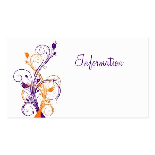 Purple orang white floral wedding enclosure card business