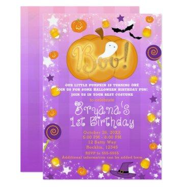 Halloween Themed Purple & Orange 1st Birthday Halloween Party Card