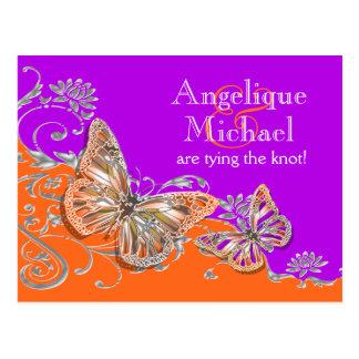 Purple orange birthday engagement anniversary postcard