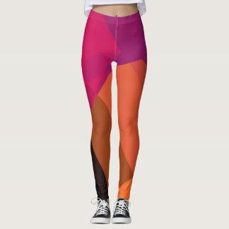 Purple Orange Black Modern Geometric Pattern Leggings