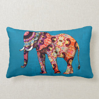 Purple orange blue elephant on blue grunge lumbar pillow