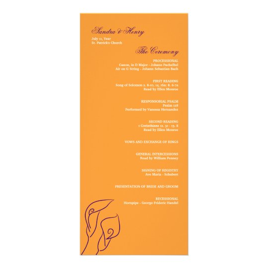 Purple & Orange Calla Lilies Wedding Program