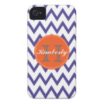 Purple & Orange Chevron Monogrammed iPhone 4/4s iPhone 4 Cover
