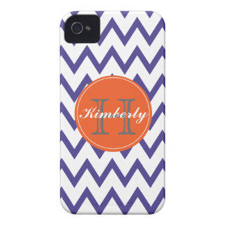 Purple & Orange Chevron Monogrammed iPhone 4/4s Case-Mate iPhone 4 Case