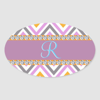 Purple Orange Diamond Chevron Oval Sticker
