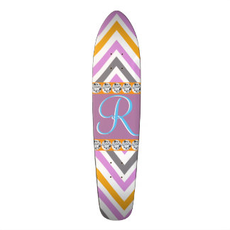 Purple Orange Diamond Chevron Skateboard Deck