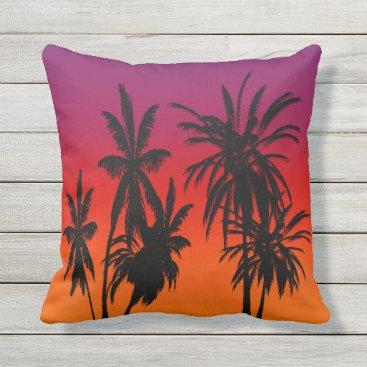 Beach Themed Purple Orange Fade Black Palm Trees Tahiti Sunset Throw Pillow