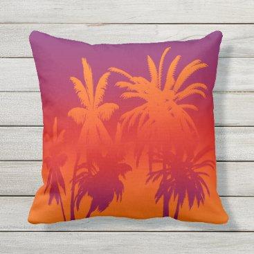 Beach Themed Purple Orange Fade Palm Trees Tahitian Sunset Outdoor Pillow