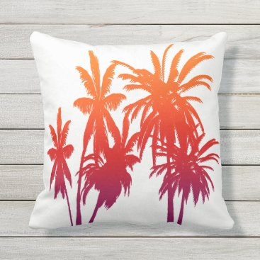 Beach Themed Purple Orange Fade Palm Trees Tahitian Sunset Outdoor Pillow