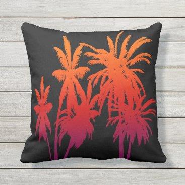 Beach Themed Purple Orange Fade Palm Trees Tahitian Sunset Throw Pillow
