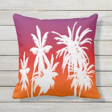Beach Themed Purple Orange Fade White Palm Trees Tahiti Sunset Outdoor Pillow