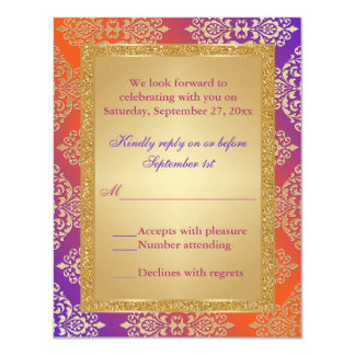 Purple Orange FAUX Gold Glitter, Damask RSVP Card