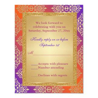 "Purple Orange FAUX Gold Glitter, Damask RSVP Card 4.25"" X 5.5"" Invitation Card"