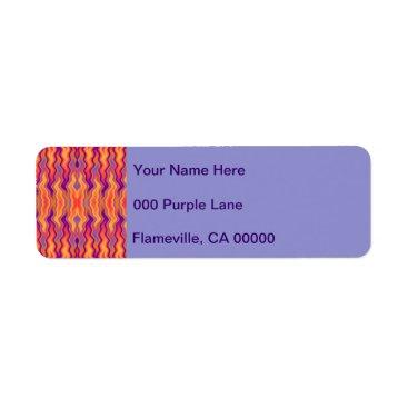 linda_mn Purple Orange Flames Abstract Label