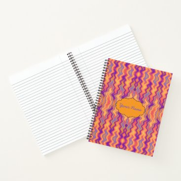 Beach Themed Purple Orange Flames Abstract Notebook