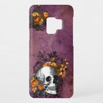 Purple Orange Floral Skull Black Halloween Goth Case-Mate Samsung Galaxy S9 Case