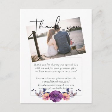 Purple Orange Floral Wedding Thank You Postcard