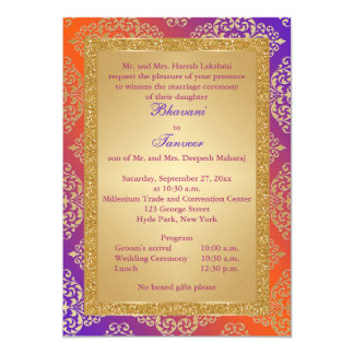 Purple, Orange, Gold FAUX Glitter Wedding Invite